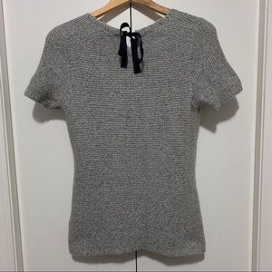 GAP Chunky Knit Short Sleeve Sweater With Tie Back